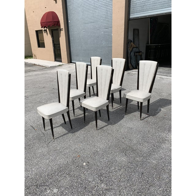 1940s Vintage French Art Deco Solid Mahogany Dining Chairs- Set of 6 For Sale In Miami - Image 6 of 12
