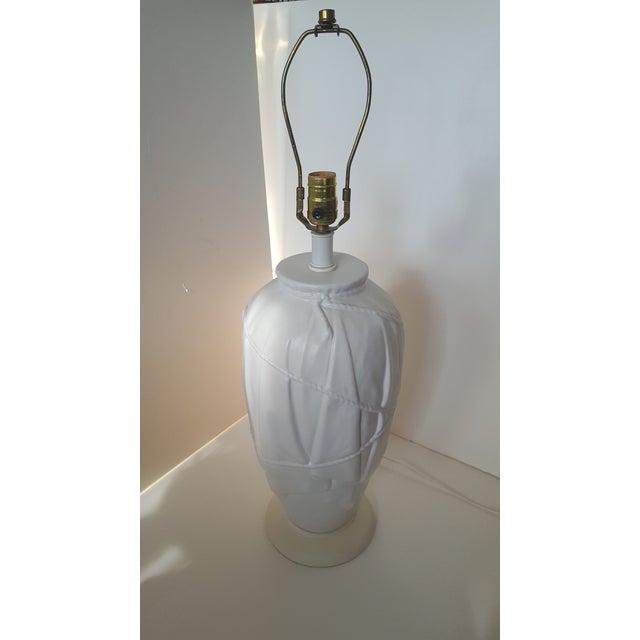 Vintage Frederick Cooper Dorothy Draper Style White Ceramic Draped Lamp For Sale In Charlotte - Image 6 of 9