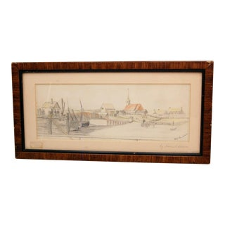 Late 19th Century American Canal Scene Colored Pencil Drawing by Samuel Isham For Sale