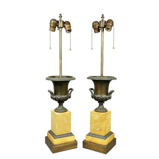 Pair of Charles X Sienna Marble and Bronze Urns Mounted as Lamps For Sale