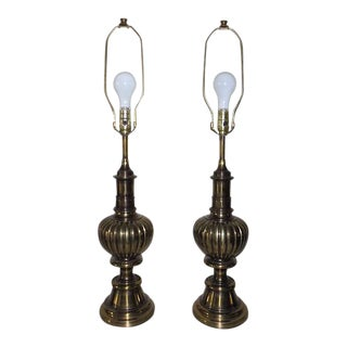 Stiffel Ribbed Trophy Urn Brass Table Lamps - a Pair For Sale