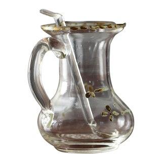 18th Century Portuguese Baroque Altar Hand Blown Glass Cruet With Spoon For Sale