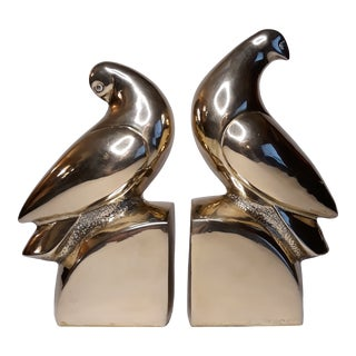 Brass Castilian Imports Dove Bookends- a Pair For Sale