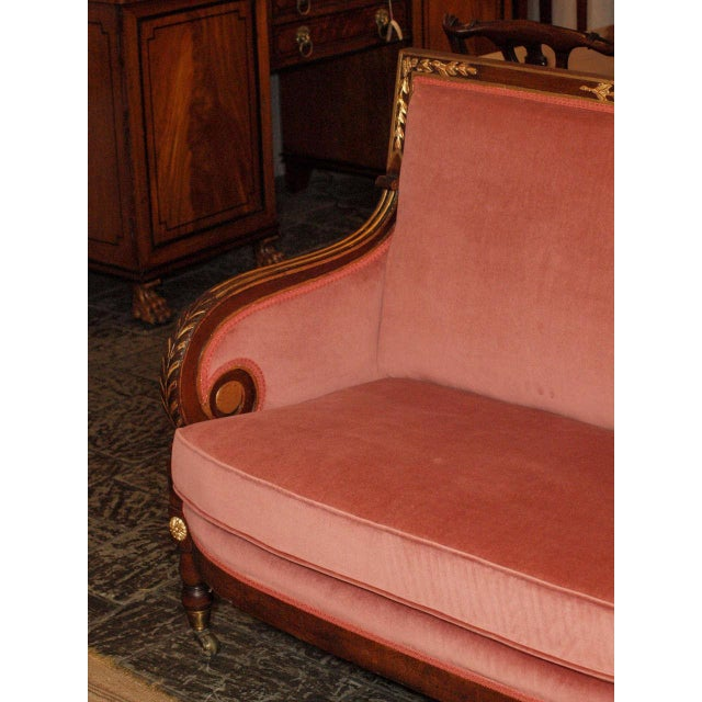 Mahogany Antique French mahogany Empire style settee For Sale - Image 7 of 8