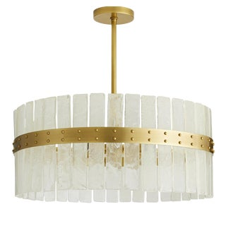 Arteriors Modern Brass and Seeded Glass Round Chandelier For Sale