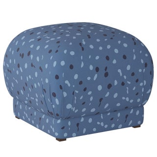 Ottoman in Blue Dot by Angela Chrusciaki Blehm for Chairish For Sale
