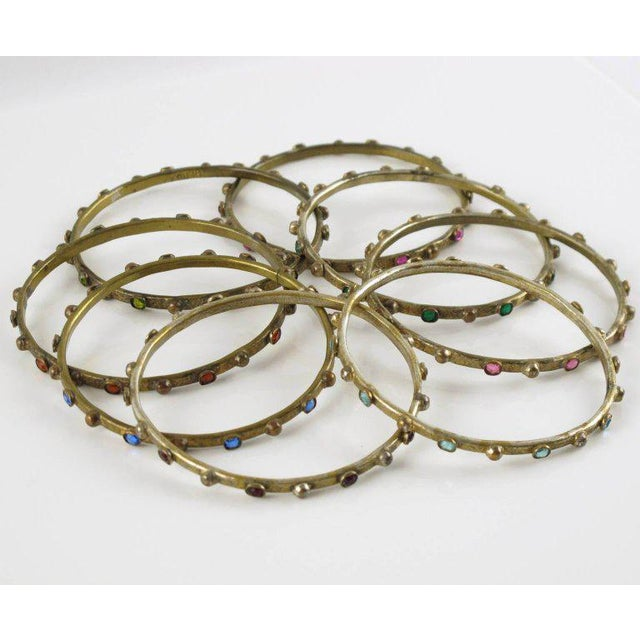 Art Deco French Henry Perichon Gilt Bronze Bracelet Bangle Spacer 8 Pieces With Stones For Sale - Image 3 of 8