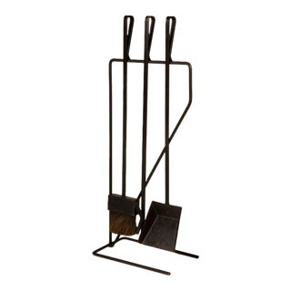 Modernist Wrought Iron Fireplace Tool Set after George Nelson For Sale