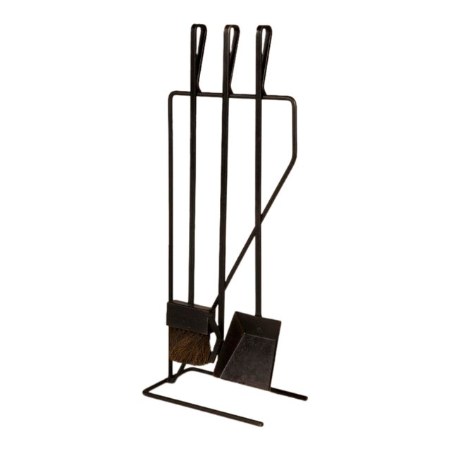 Incredible Modernist Wrought Iron Fireplace Tool Set After George