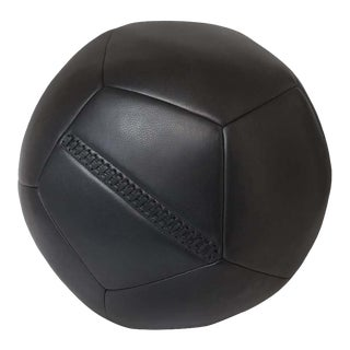 Ball Ottoman in Black Leather by Moses Nadel For Sale