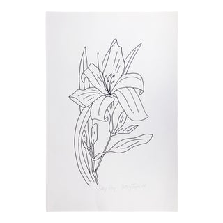 "Original Vintage 1979 Black and White Botanical ""DayLily"" Drawing Unframed on Paper Signed Betsey Tryon For Sale"