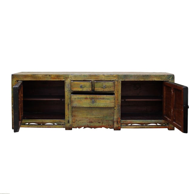 2000 - 2009 Chinese Distressed Green Brown Oriental Flower Graphic Tv Console Cabinet For Sale - Image 5 of 10