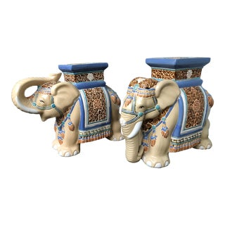 Vintage Elephant Terra Cotta Garden Stools - A Pair For Sale