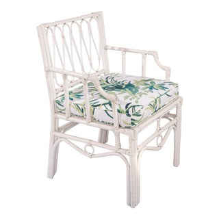 1950s Vintage White Rattan Armchair For Sale