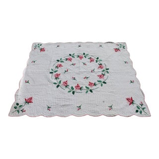 Antique Rose Applique Quilt For Sale