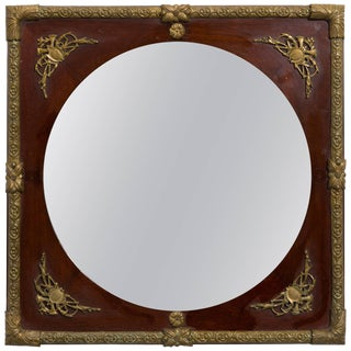Classical Bronze Wood Mirror For Sale