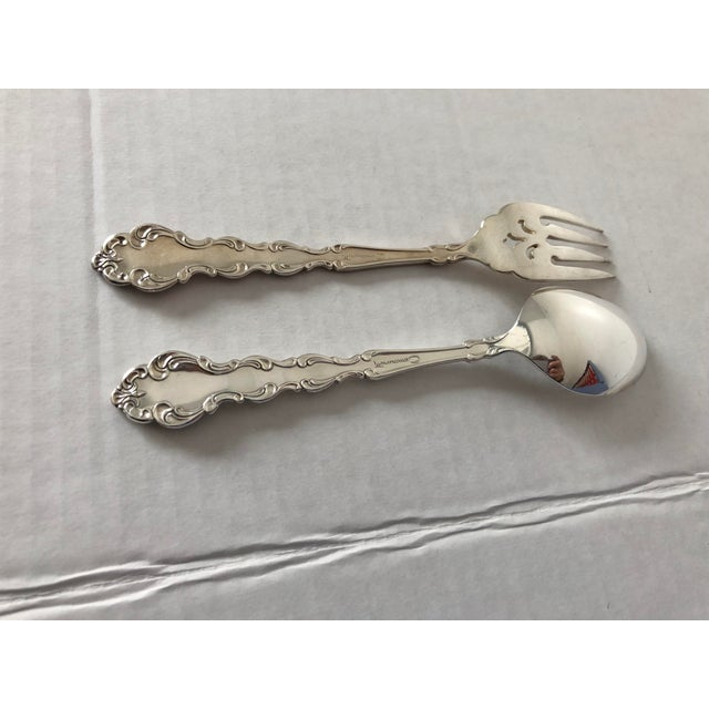 Metal Vintage Community Silver Plate Modern Braque Pattern 63 Pcs / Hand Painted Flatware Box For Sale - Image 7 of 8