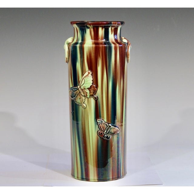 Early 20th Century Pottery Vase with Butterfly Motif and Drip Flambe Glaze For Sale - Image 13 of 13
