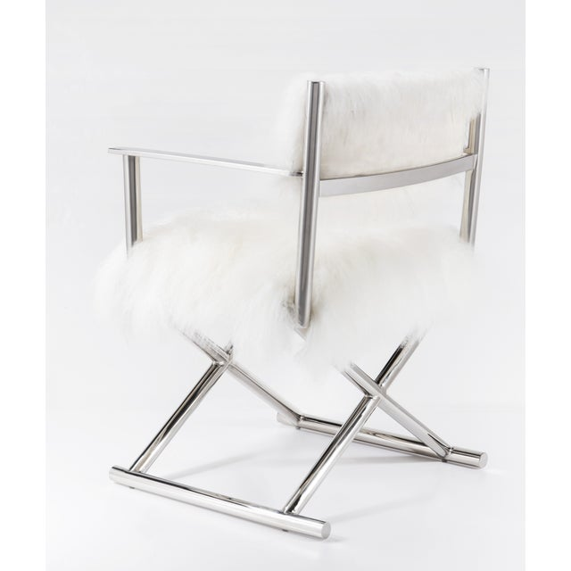 mongolian fur polished metal director s chair chairish