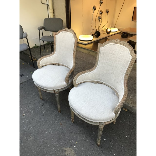 1860 French Petite Fauteuils - a Pair For Sale - Image 4 of 6