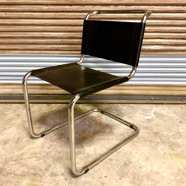 Mid 20th Century Vintage Mid Century Mart Stam Leather and Chrome Cantilever Chairs- A Pair For Sale - Image 5 of 13