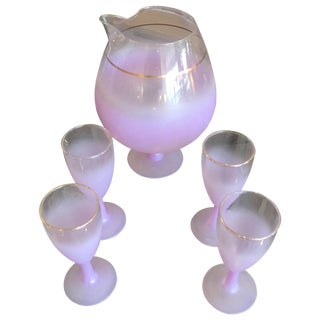 Blendo Purple Cocktail Pitcher & Four Glasses For Sale