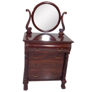 Antique Empire Highly Carved Dresser With Mirror For Sale