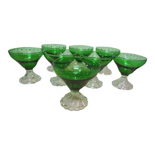 Vintage Mid-Century Modern Emerald Sherbet Glasses - Set of 8 For Sale