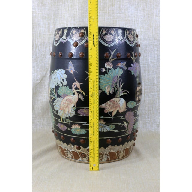 Vintage Black Garden Stool With Cranes and Lotuses For Sale - Image 11 of 12