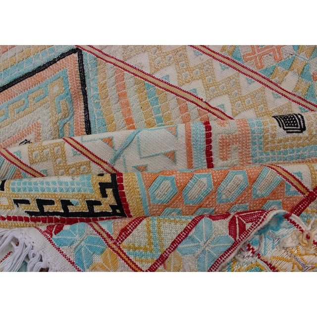 Keivan Woven Arts, S12-0303, Vintage Mid-Century Embroidered Moroccan Rug - 5′ × 9′ For Sale - Image 9 of 10