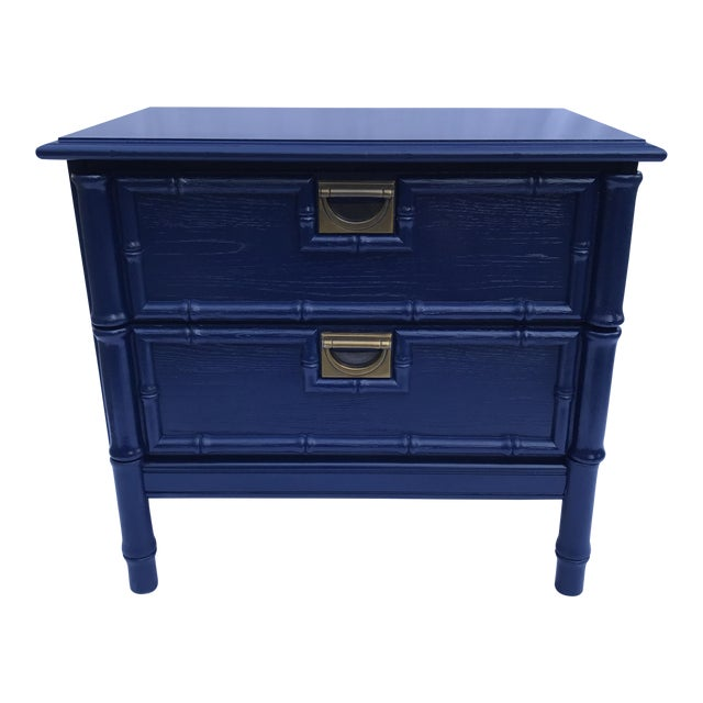 Navy Faux Bamboo Side Table For Sale