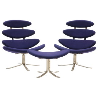Pair Poul Volther Corona Chairs With Ottoman, Deep Blue Fabric and Solid Steel For Sale