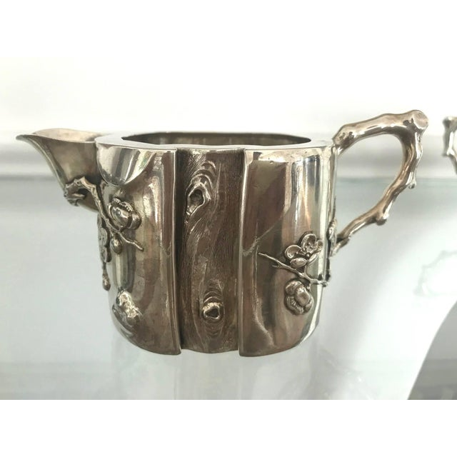 Metal Chinese Export Sterling Silver Creamer and Sugar Luen Wo - A Pair For Sale - Image 7 of 10