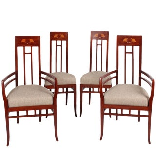 Italian Art Nouveau High Back Chairs - Set of 4 For Sale