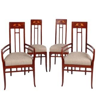 Italian Art Nouveau High Back Chairs - Set of 4