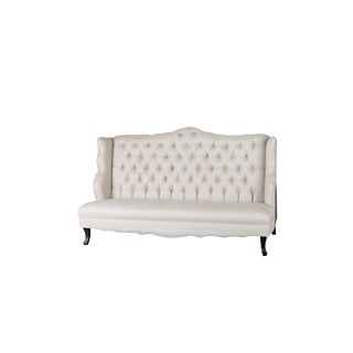 Statements by J Monica Tufted Beige Wing Banquette For Sale