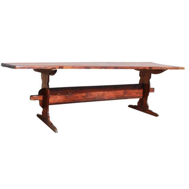 Antique Country Pine Farm Table For Sale
