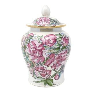 Vintage Japanese Pink Roses Temple Jar For Sale
