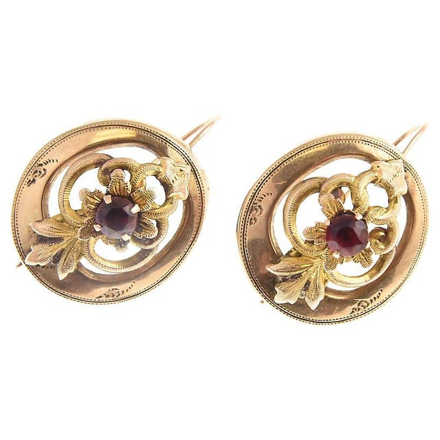 Victorian Garnet & 14k Gold Floral Earrings For Sale In Miami - Image 6 of 7