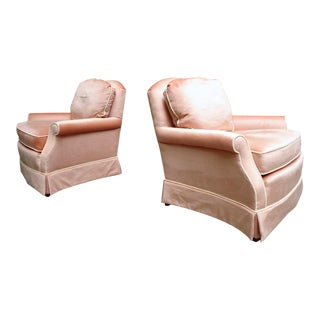 Vintage Drexel Heritage Peach Velvet Lounge Club Chairs ~ a Pair For Sale