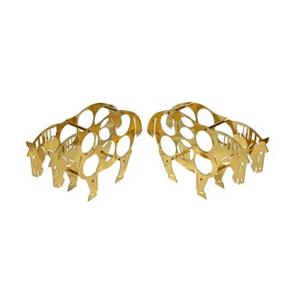 Italian Brass Horse Motif Wine Racks - a Pair For Sale