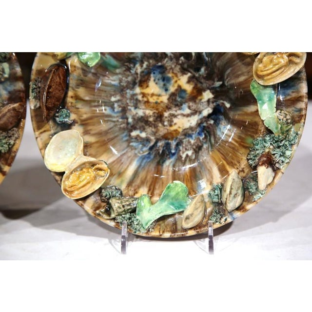 Shell Early 20th Century Barbotine Wall Hanging Plates With Seashells - A Pair For Sale - Image 7 of 10