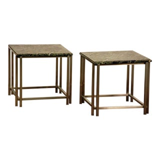 Pair of Chic Breccia Marble and Brushed Aluminum 1970s Side Tables For Sale