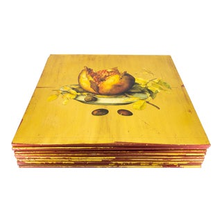 French 'Decoupage' Style Limited Edition Gold Hand Painted Wooden Place Mats - Set of 10 For Sale