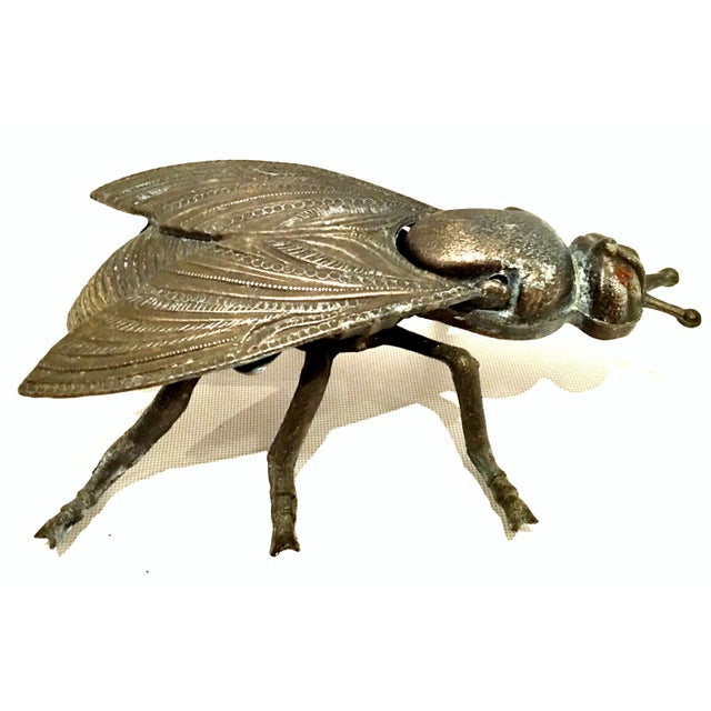 Mid-20th Century Art Nouveau Iron & Brass Figural Fly & Shrimp Sculpture-a Pair For Sale - Image 9 of 13