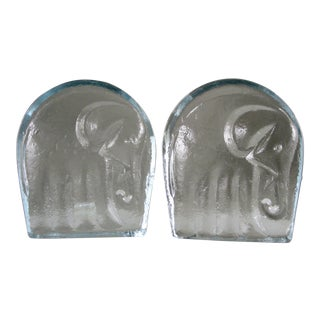 1960s Blenko Clear Elephant Bookends - a Pair For Sale