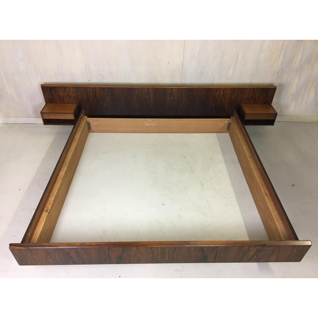 Kingsize Rosewood Platform Bed With Floating Nightstands Chairish