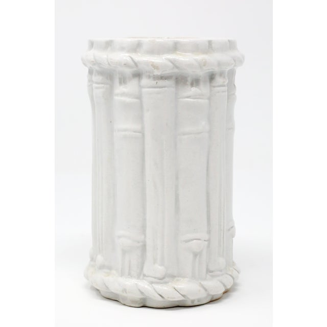 "A vintage, white ceramic vase with embossed bamboo motif. Stamped ""Made in Italy."" Excellent condition. 4 1/4"" x 2 1/2""..."