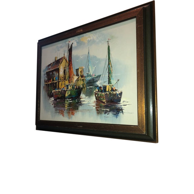 Mid-Century Modern Peaceful Mid Century Painting of Sailboats For Sale - Image 3 of 9