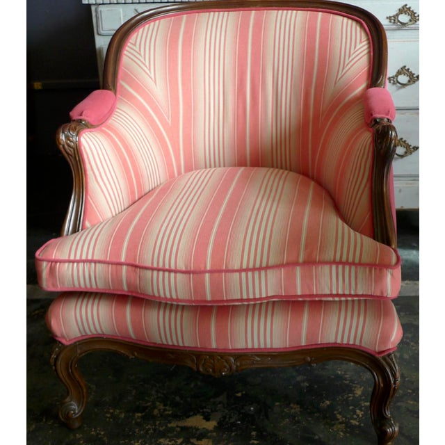 19th Century French Walnut Bergere Armchair Reupholstered With New Fabric. For Sale - Image 10 of 11